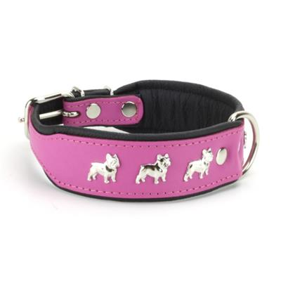 Collier BOULEDOGUE FRANCAIS en cuir rose