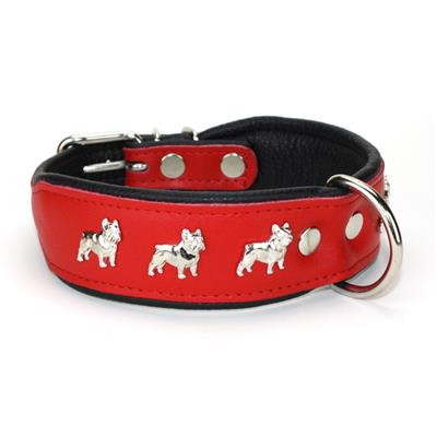 Collier BOULEDOGUE FRANCAIS en cuir rouge