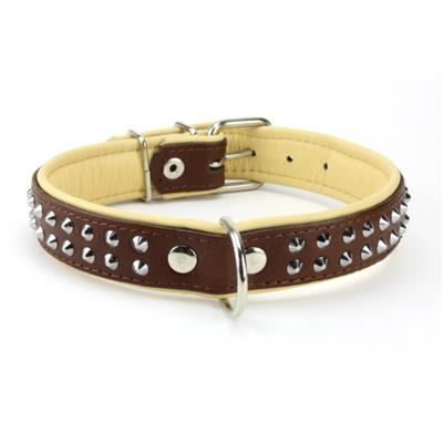 Collier en CUIR CLOUTE 2 RANGS marron